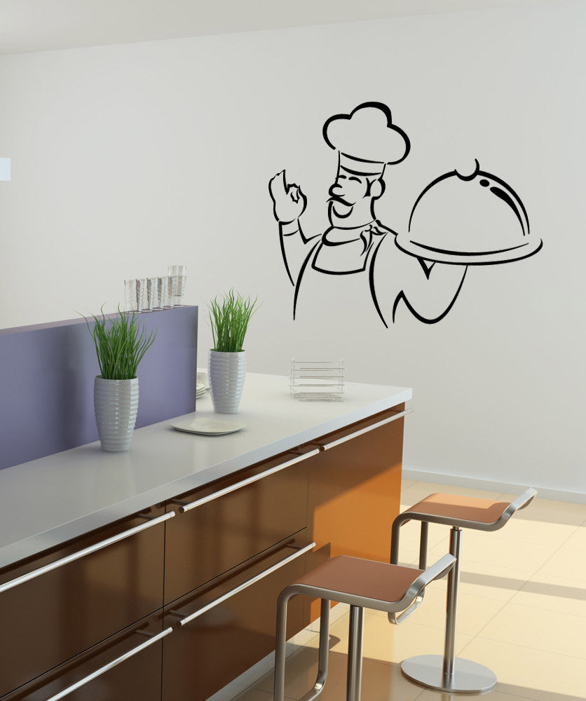Vinyl Wall Decal Sticker Chef Outline #1088