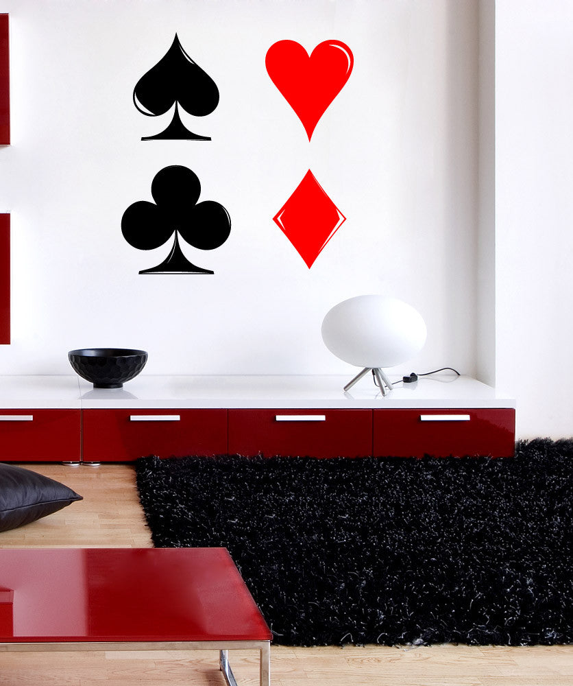 Vinyl Wall Decal Sticker Playing Cards Symbols 1089