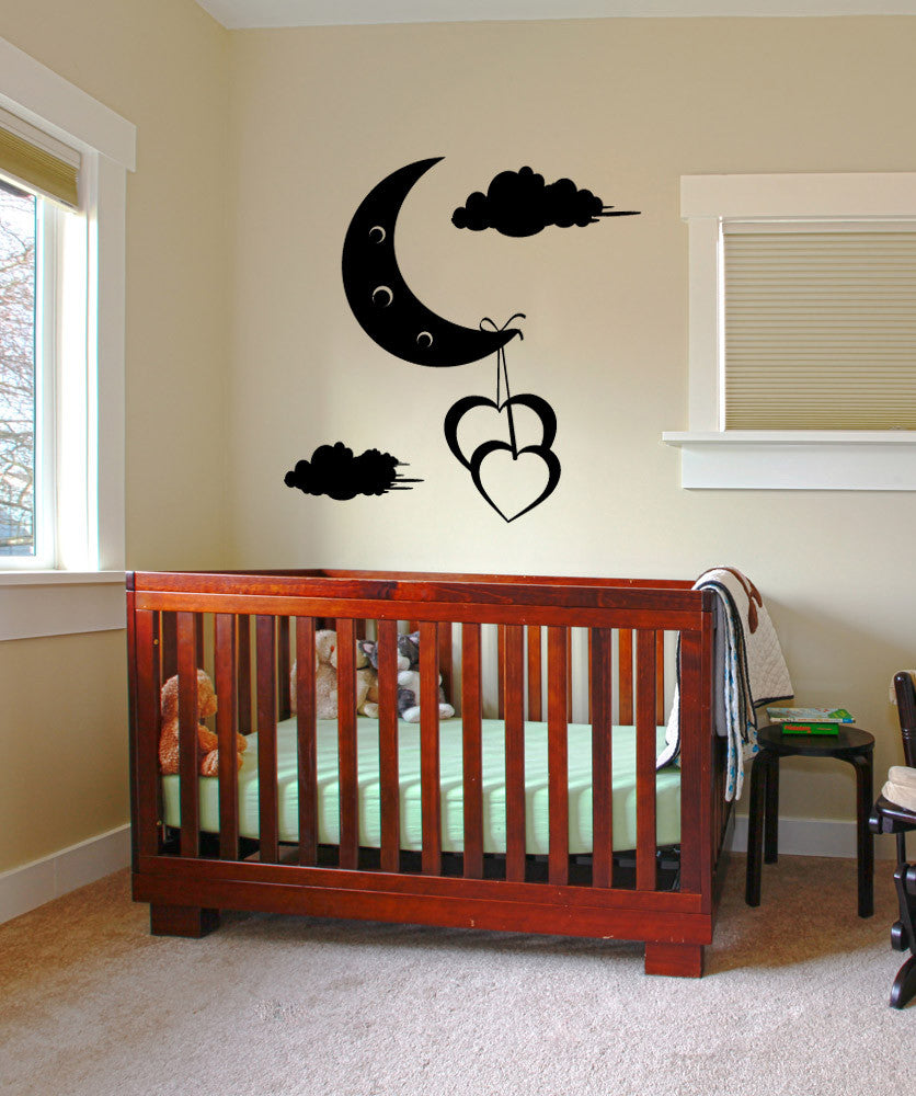Vinyl Wall Decal Sticker Hearts Hanging off Moon #1091