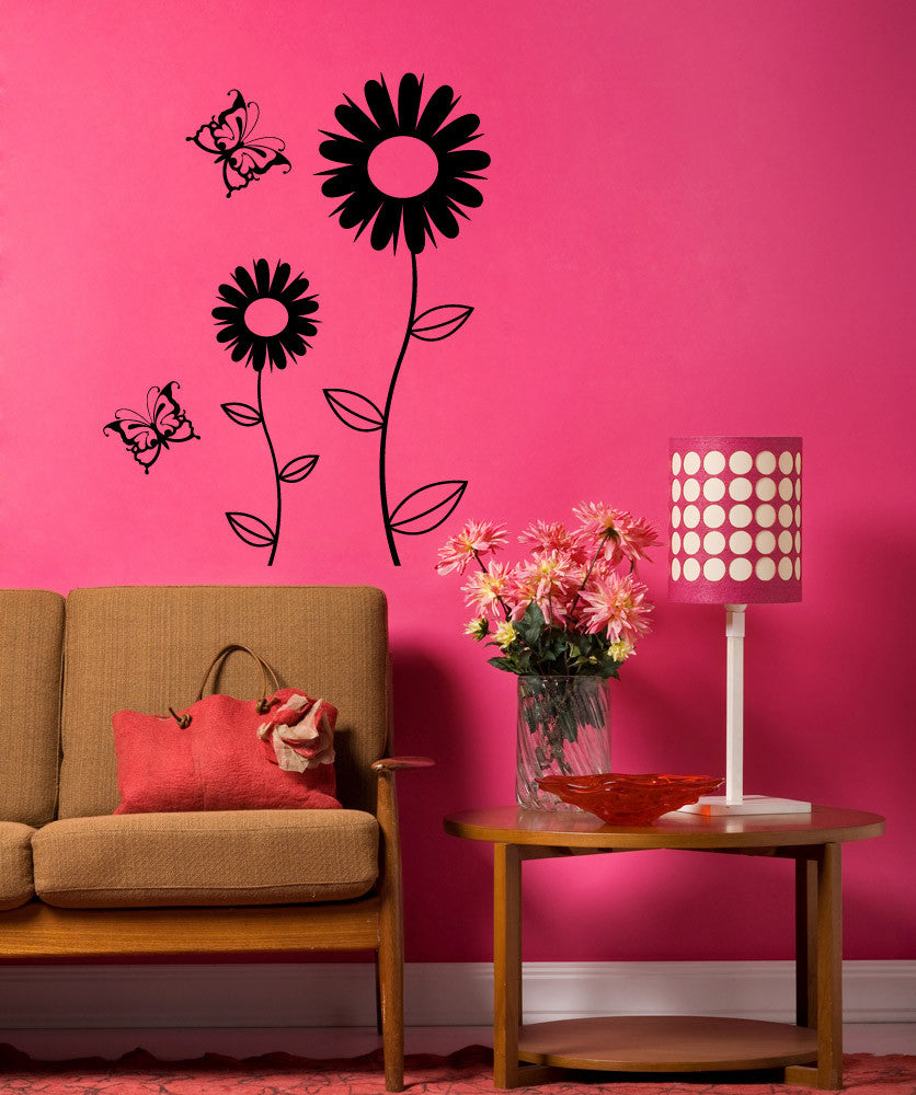 Vinyl Wall Decal Sticker Daisies with Butterflies #1099
