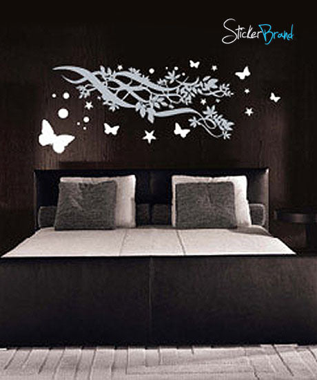 Vinyl Wall Art Decal Sticker Butterfly Stars Branch #109