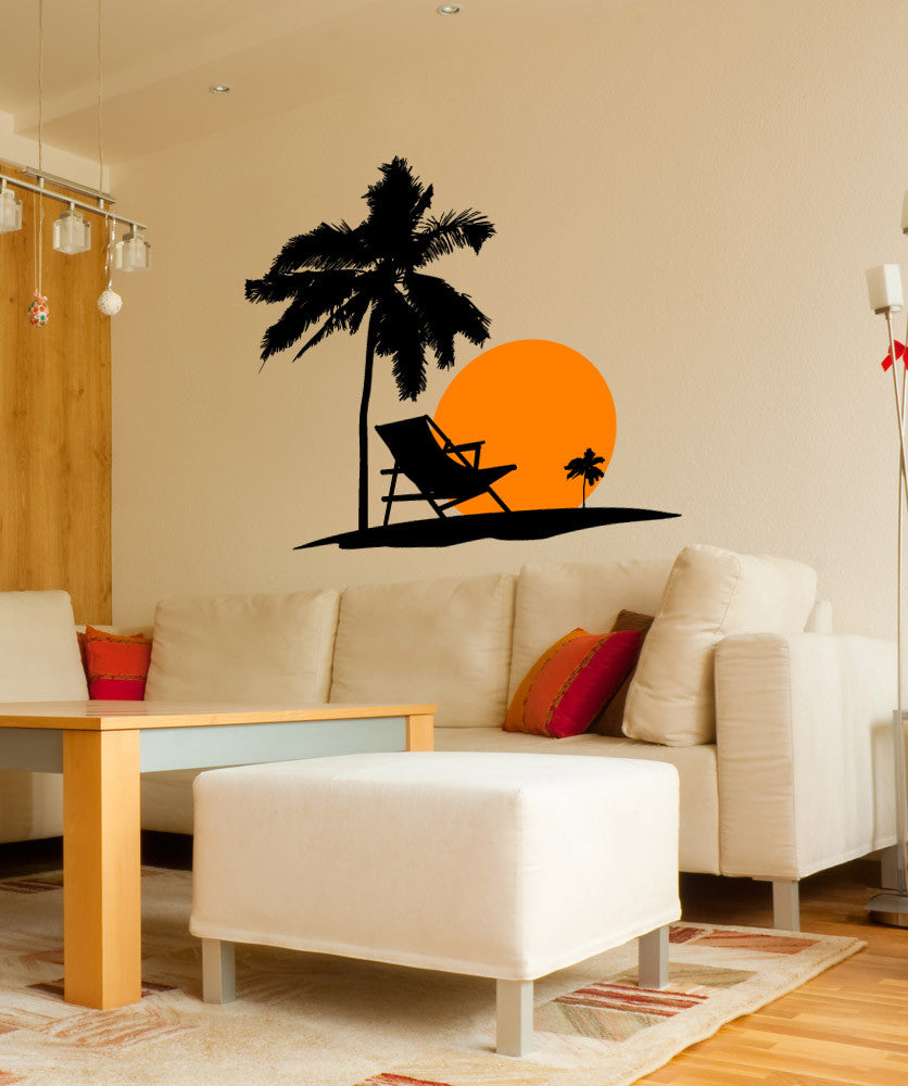 Vinyl Wall Decal Sticker Beach Sunset 1101