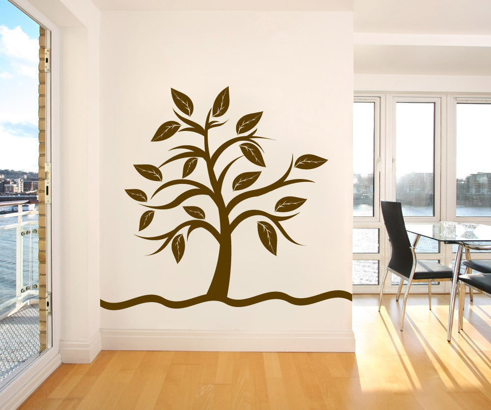 Vinyl wall decal sticker small tree with big leaves 1106 amipublicfo Choice Image