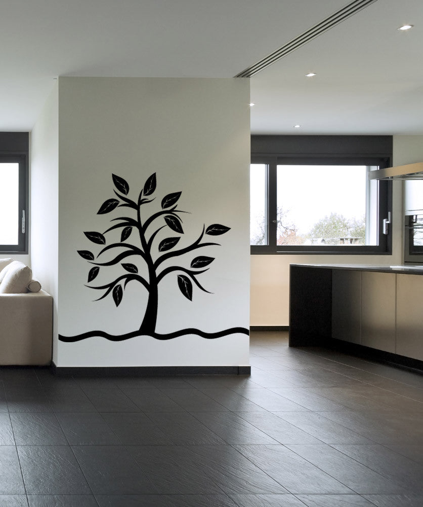 Vinyl Wall Decal Sticker Small Tree With Big Leaves #1106