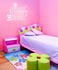 Vinyl Wall Decal Sticker Peace Love And Music 1107