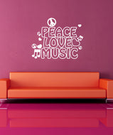 Vinyl Wall Decal Sticker Peace Love and Music #1107