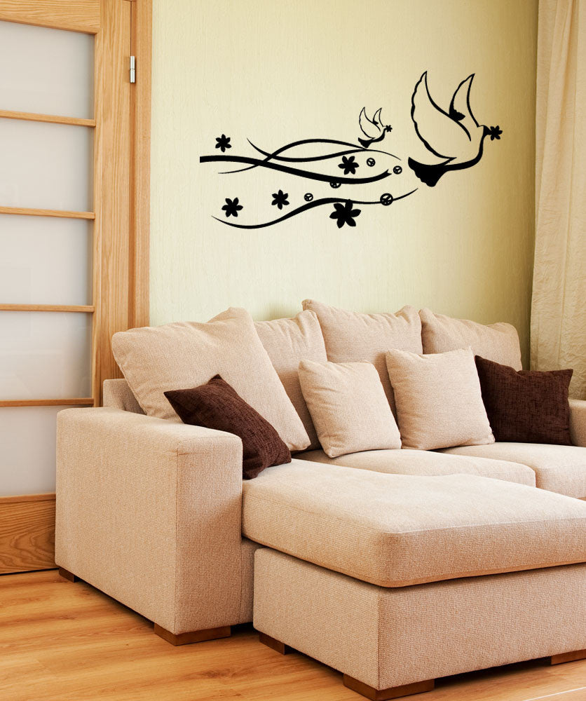 Vinyl Wall Decal Sticker Peace Doves #1116