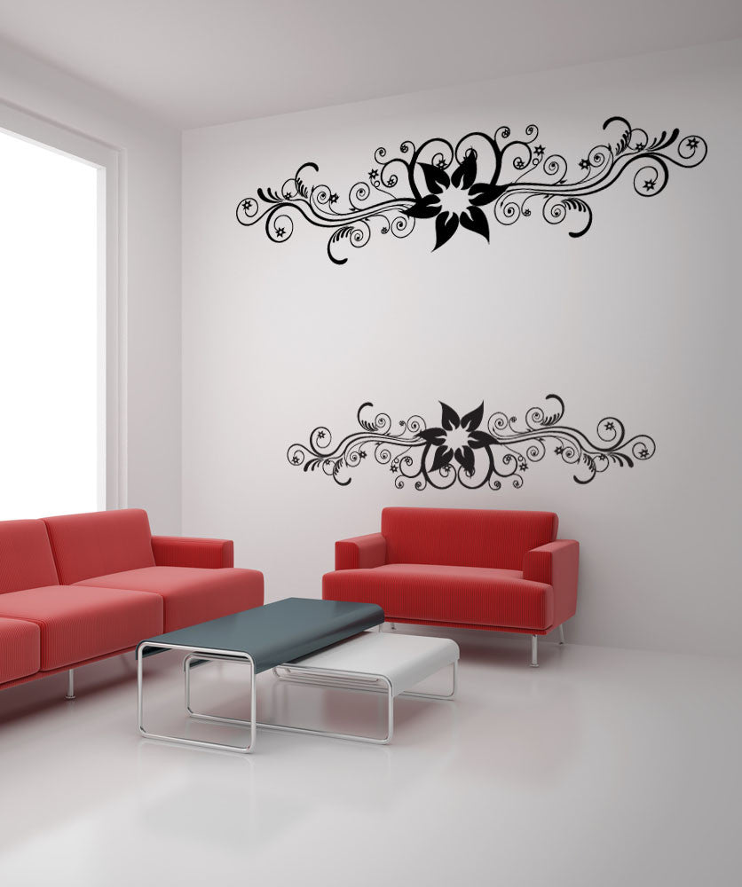 Vinyl Wall Decal Sticker Two Flower Vines #1124