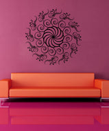Vinyl Wall Decal Sticker Swirly Circle Plant #1125