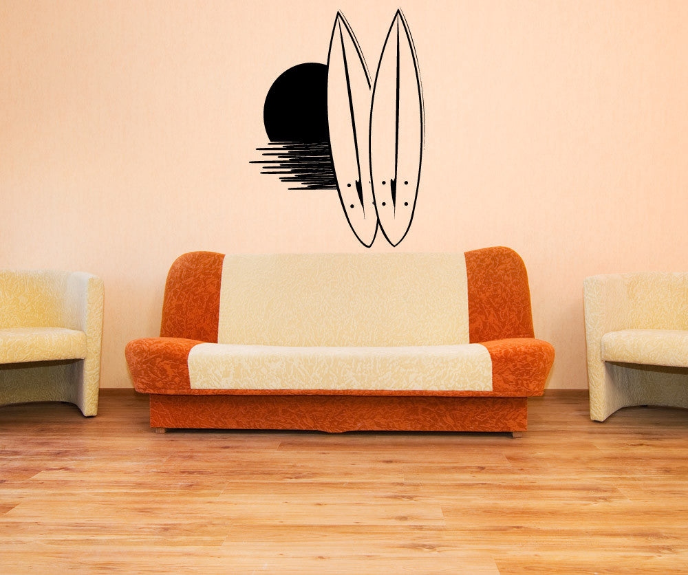 Vinyl wall decal sticker surfboard sunset 1134 amipublicfo Gallery