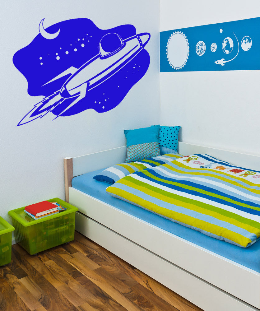 Vinyl Wall Decal Sticker Rocket in Space #1135