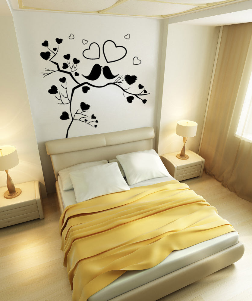 Vinyl Wall Decal Sticker Birds in Heart Tree #1141