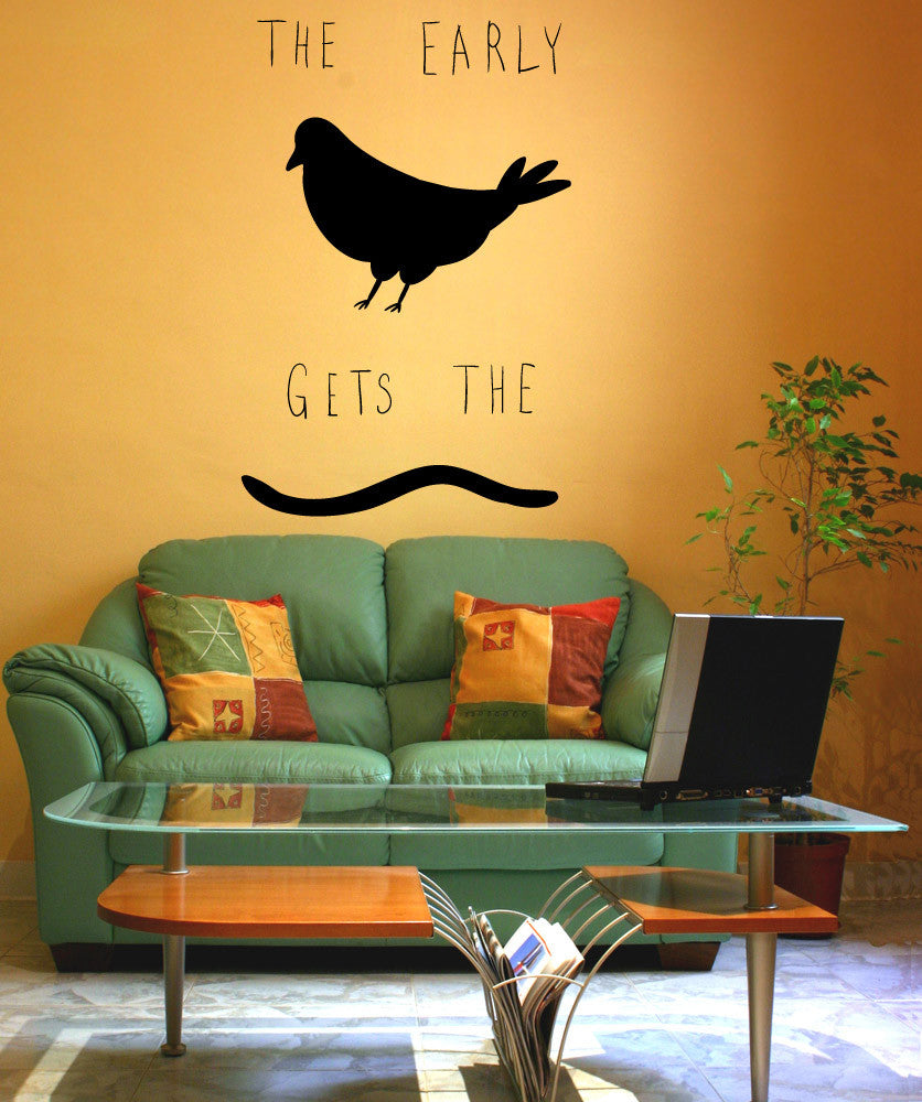 Vinyl Wall Decal Sticker Early Bird Gets the Worm #OS_MB1141
