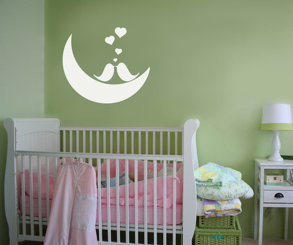 vinyl wall decal sticker love birds on the moon 1147
