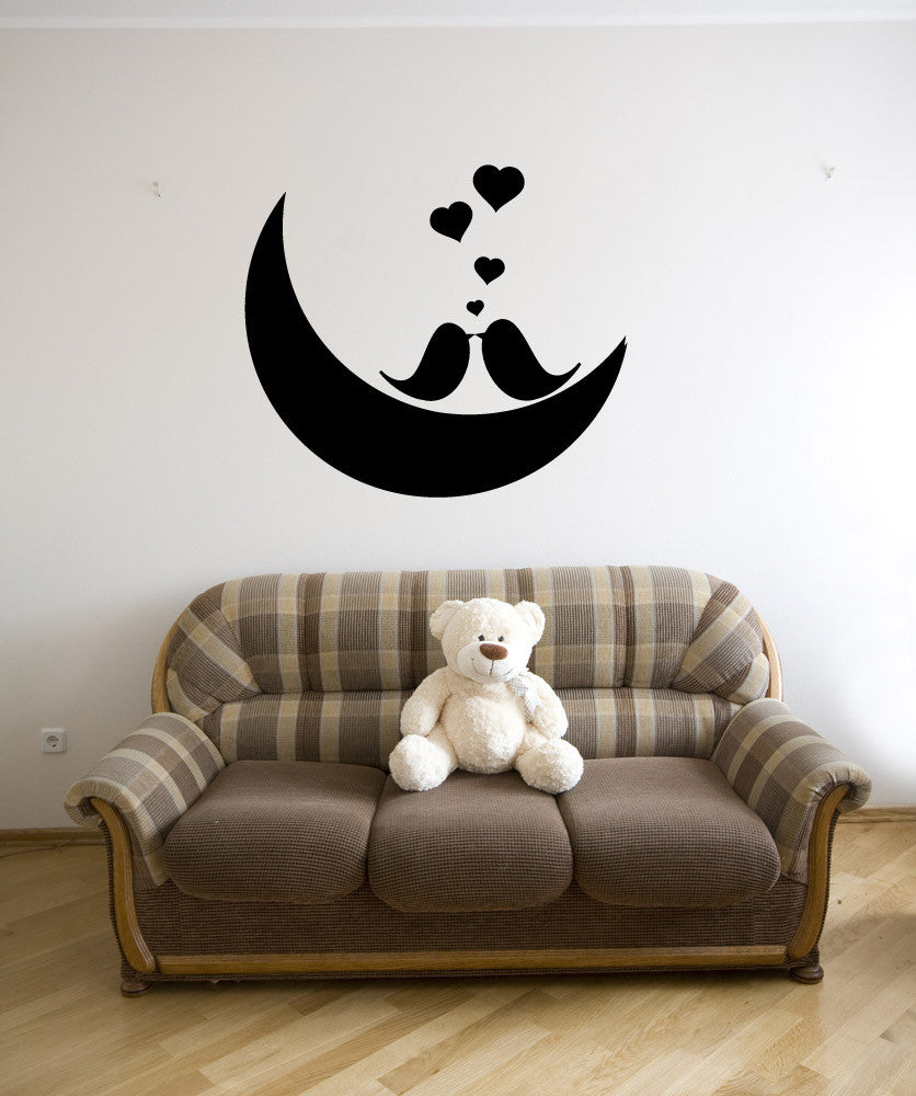 Vinyl Wall Decal Sticker Love Birds on the Moon #1147