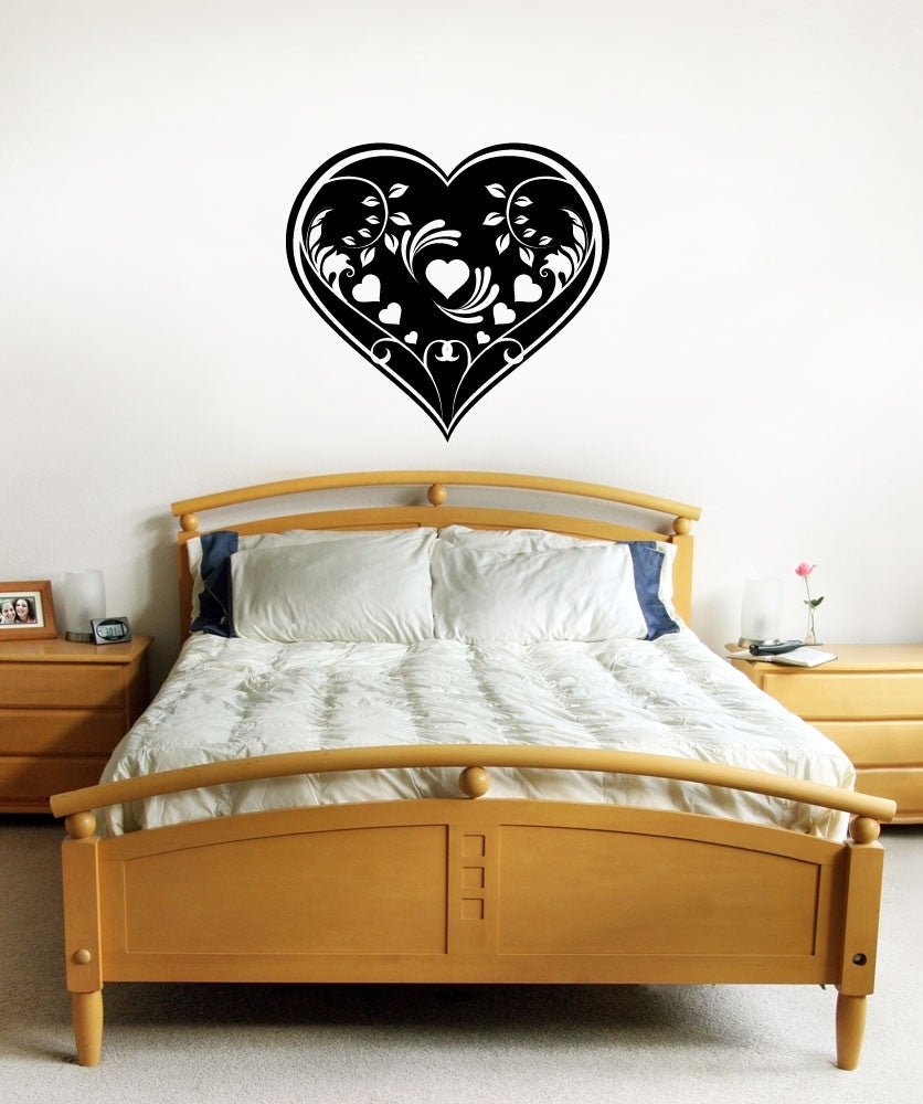 Vinyl Wall Decal Sticker Heart Vine Design #1155