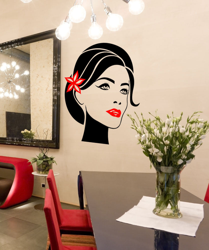 Vinyl Wall Decal Sticker Woman with Flower in Hair #1163