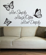 Vinyl Wall Decal Sticker Inspirational Quote Live Simply Laugh Ofter Love Deeply #1166