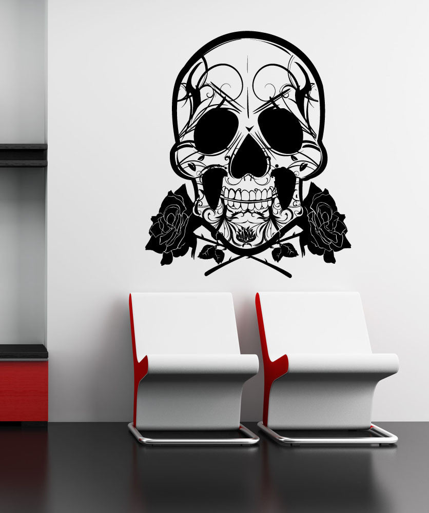 Vinyl Wall Decal Sticker Skull and Roses #1167