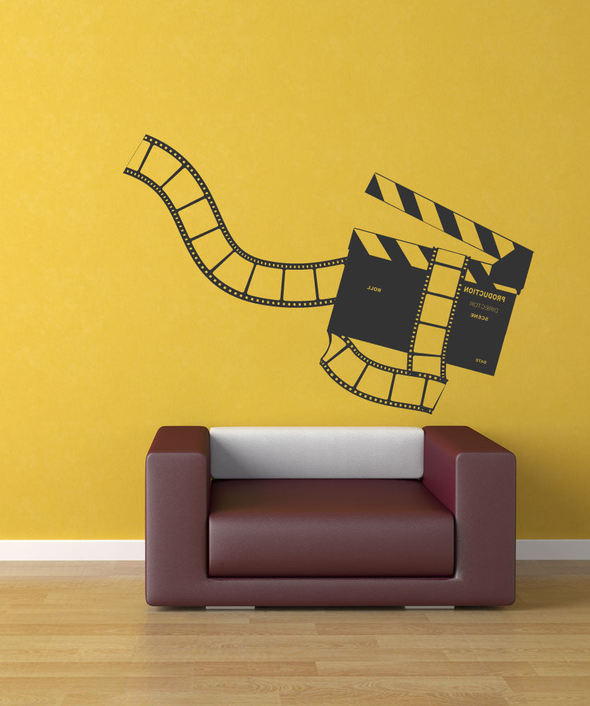Vinyl Wall Decal Sticker Movie Clapperboard and Film #1169