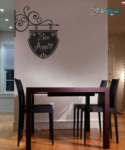 Vinyl Wall Decal Lettering Bon Appetit Hanging Sign #116