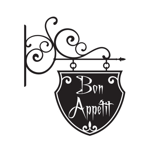 Bon Appetit Hanging Sign Vinyl Wall Decal Lettering for the Dinning Room. #116