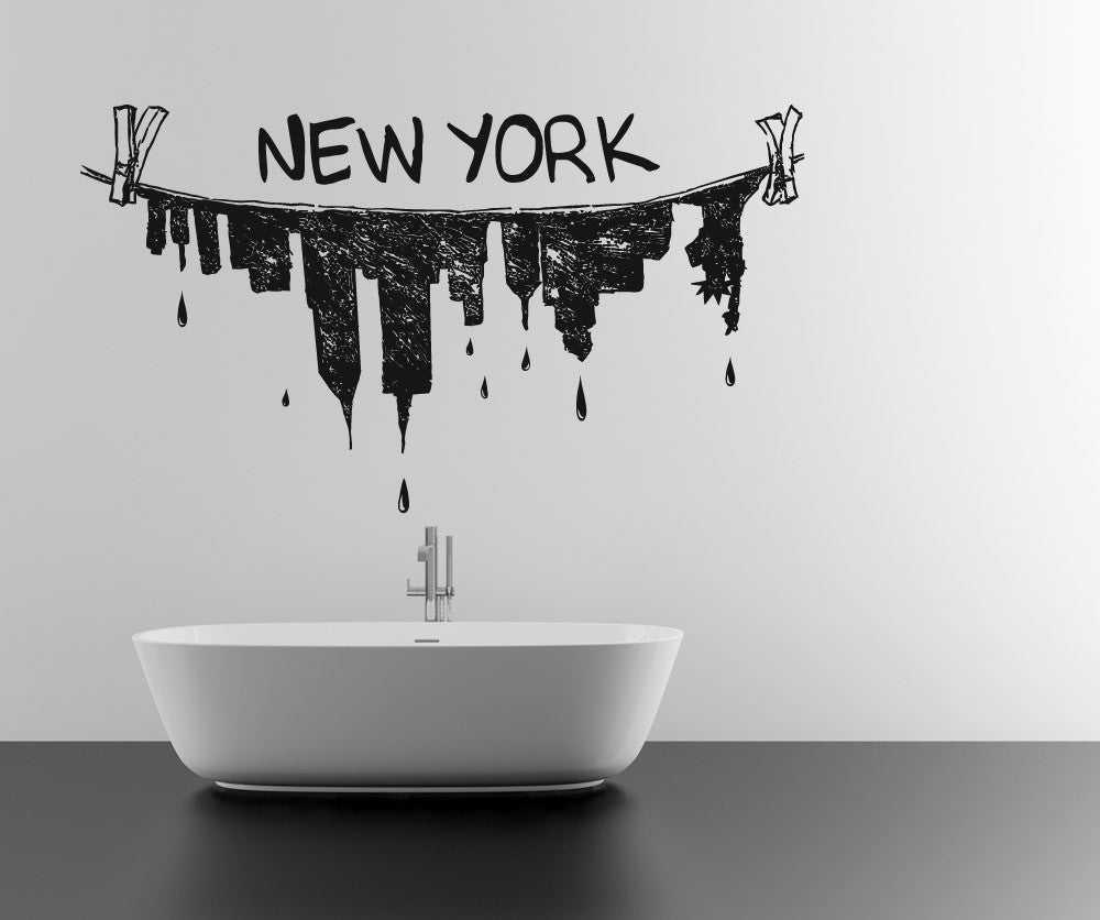 Vinyl Wall Decal Sticker New York City Clothes Hanger 1174