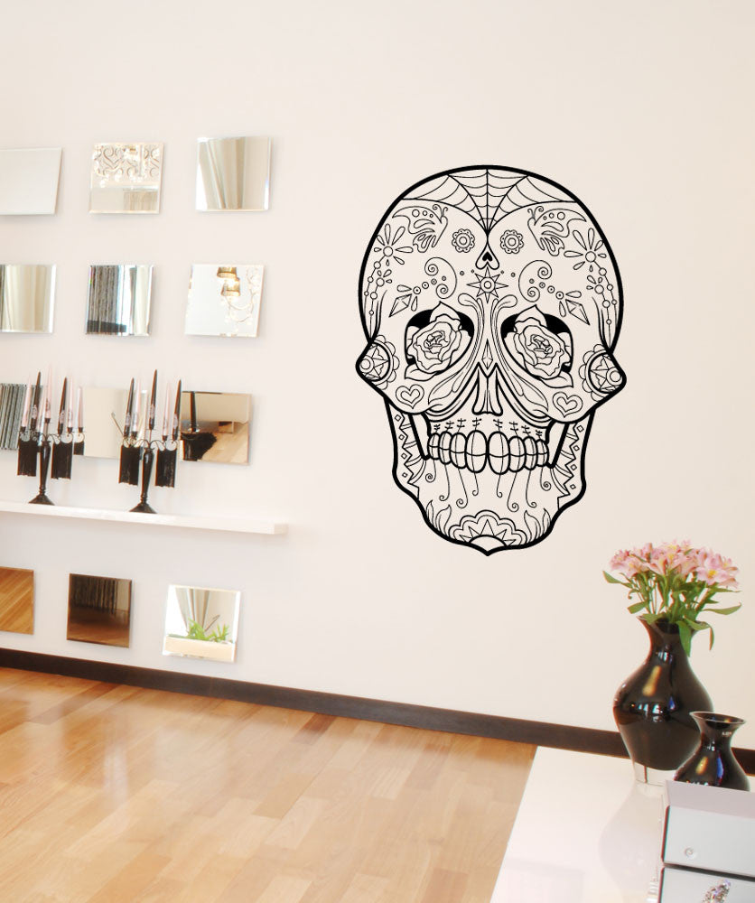 Vinyl Wall Decal Sticker Roses Sugar Skull #1181