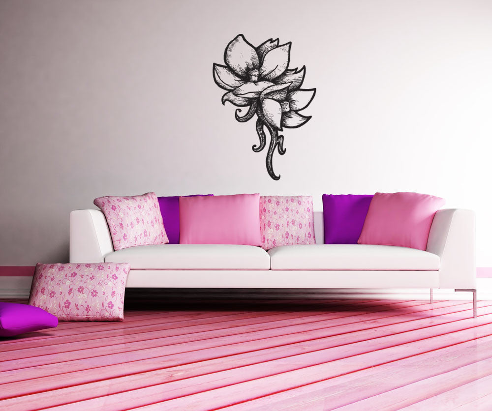 Vinyl wall decal sticker wood burn tropical flowers 1191 amipublicfo Image collections