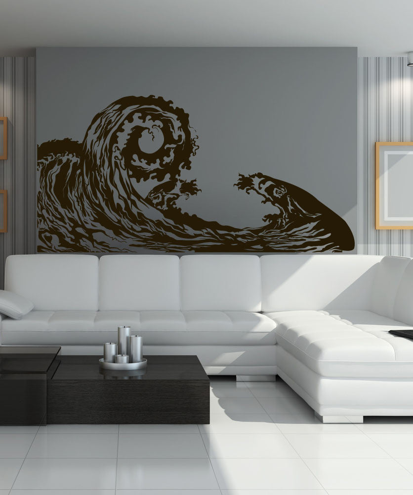 wave wall decal ocean wave wall sticker waves decal. Black Bedroom Furniture Sets. Home Design Ideas