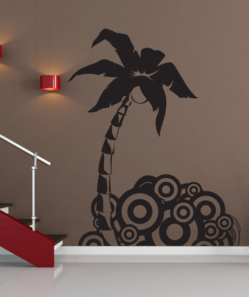 Vinyl Wall Decal Sticker Palm Tree Circle Design #1221
