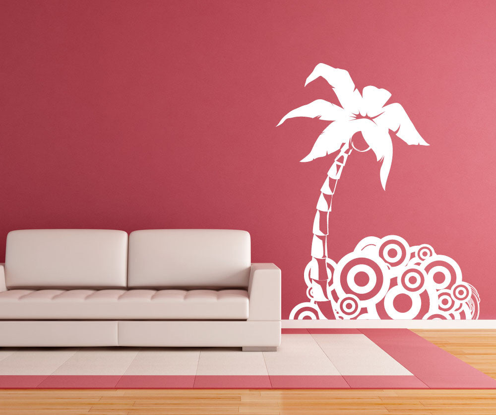 Vinyl wall decal sticker palm tree circle design 1221 amipublicfo Image collections