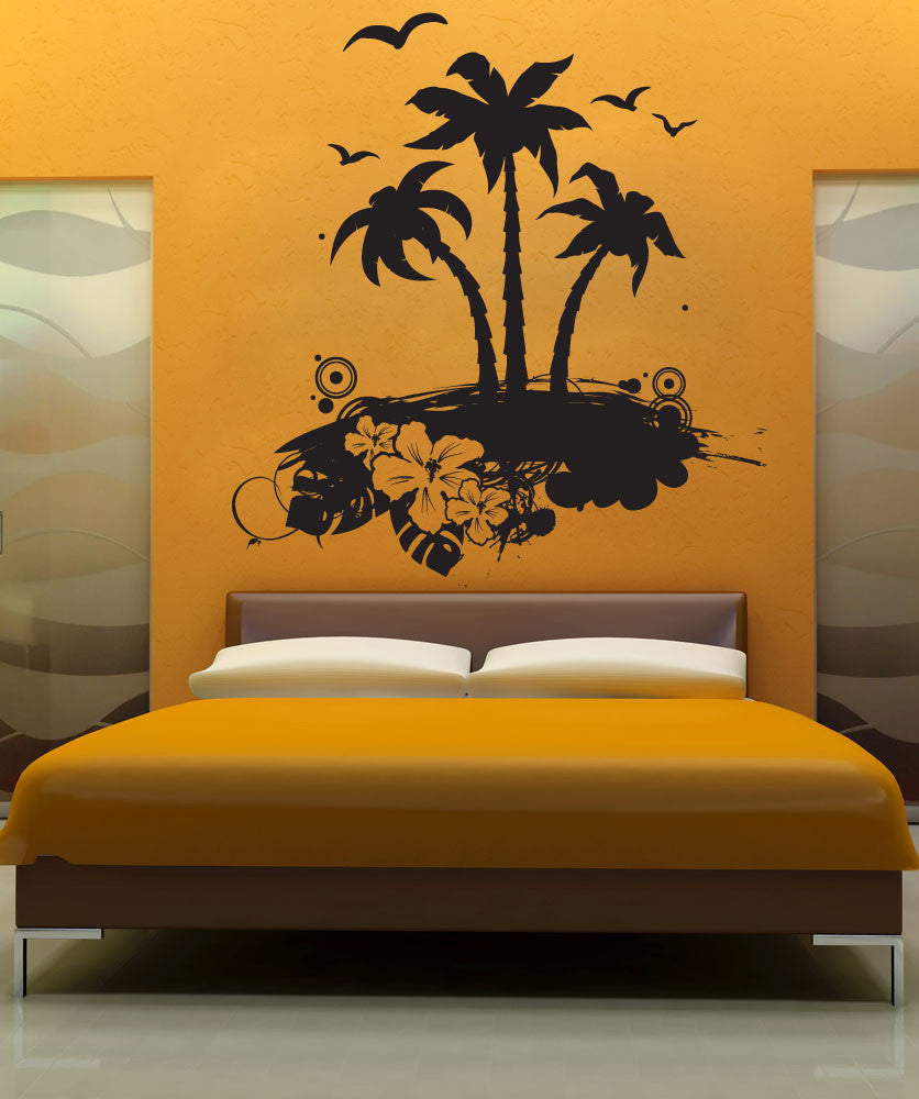 Vinyl Wall Decal Sticker Tropical Island Art 1224