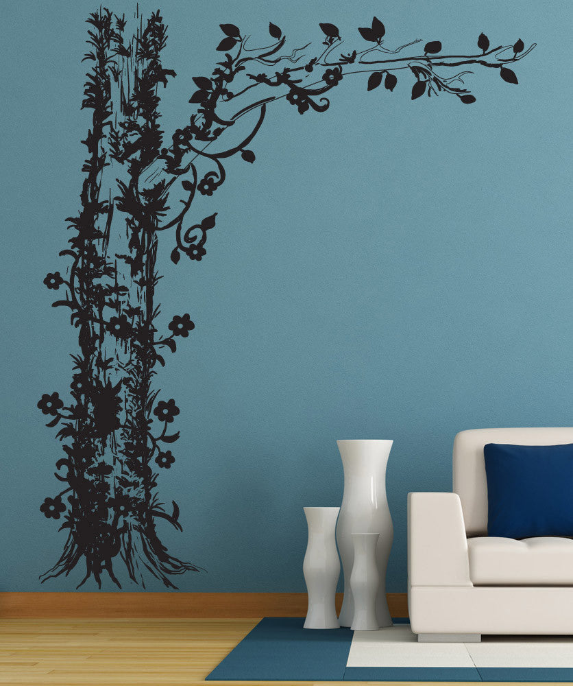 Vinyl wall decal sticker tree with floral vines 1237 amipublicfo Choice Image