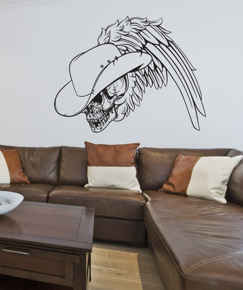 Vinyl Wall Decal Sticker Cowboy Skull #1252