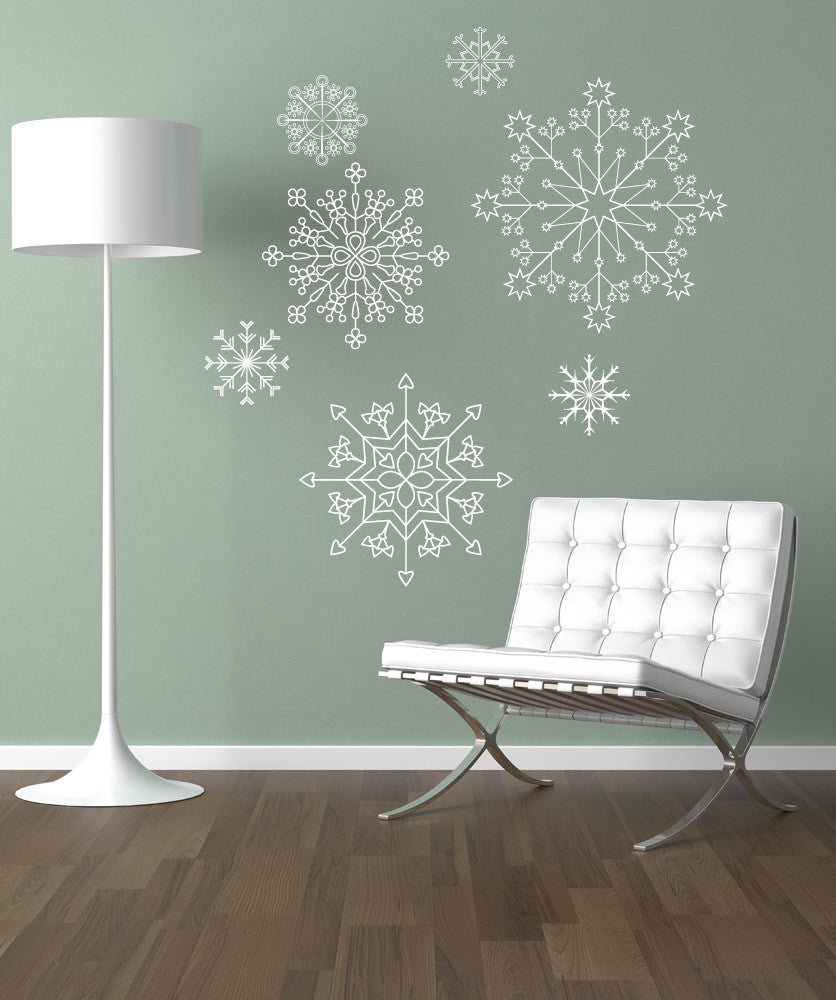 snowflake wall decals snowflake stickers for wall. Black Bedroom Furniture Sets. Home Design Ideas