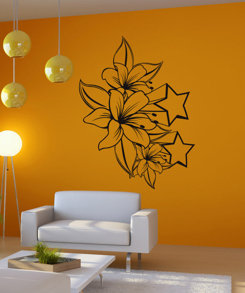 Vinyl Wall Decal Sticker Tiger Lilies and Stars #1264