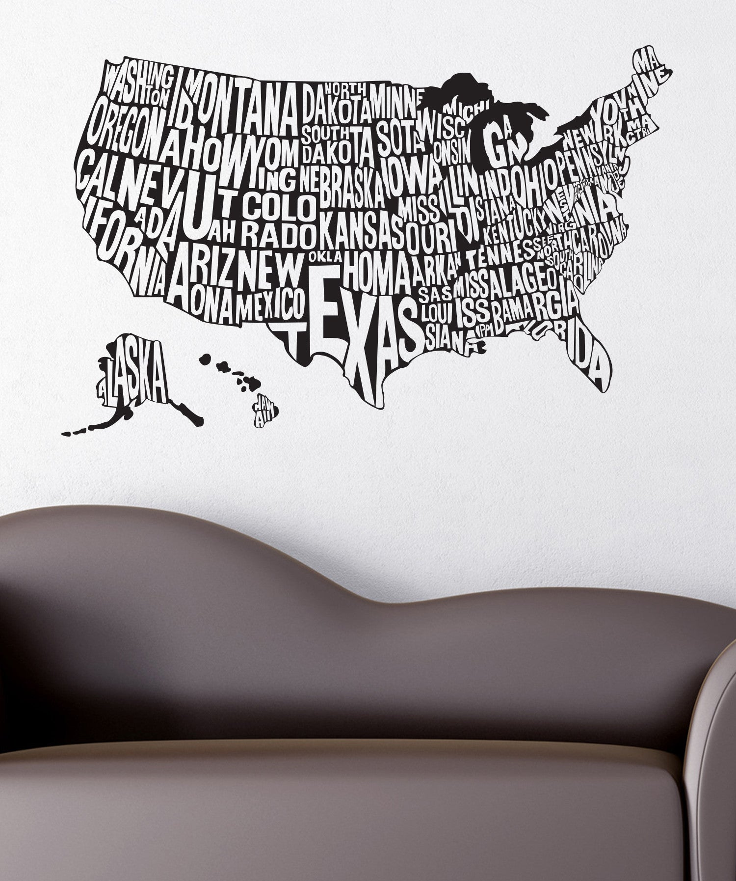 Vinyl Wall Decal Sticker United States Map 1275