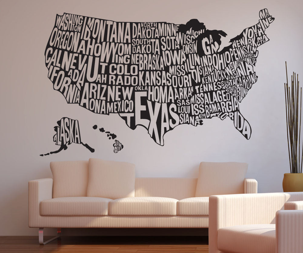 Vinyl Wall Decal Sticker United States Map - Sticker us map