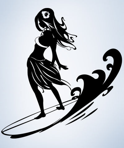 Vinyl Wall Decal Sticker Surfer Hula Girl #1280