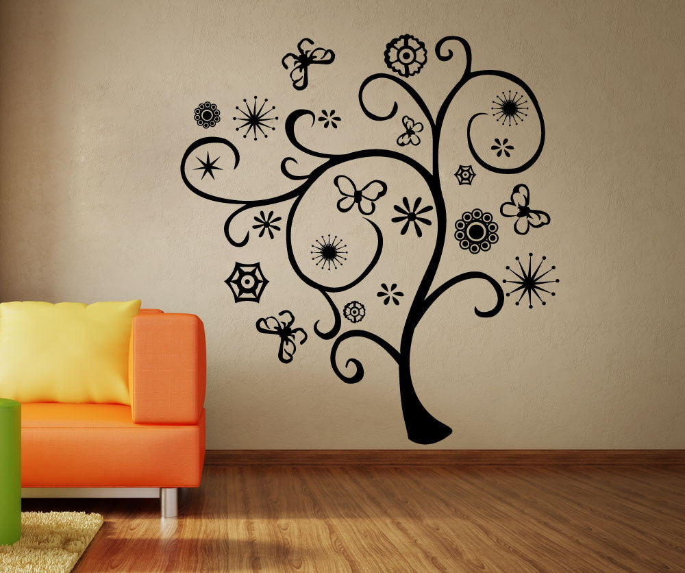 Vinyl Wall Decal Sticker Abstract Spring Tree - Vinyl wall decals abstract