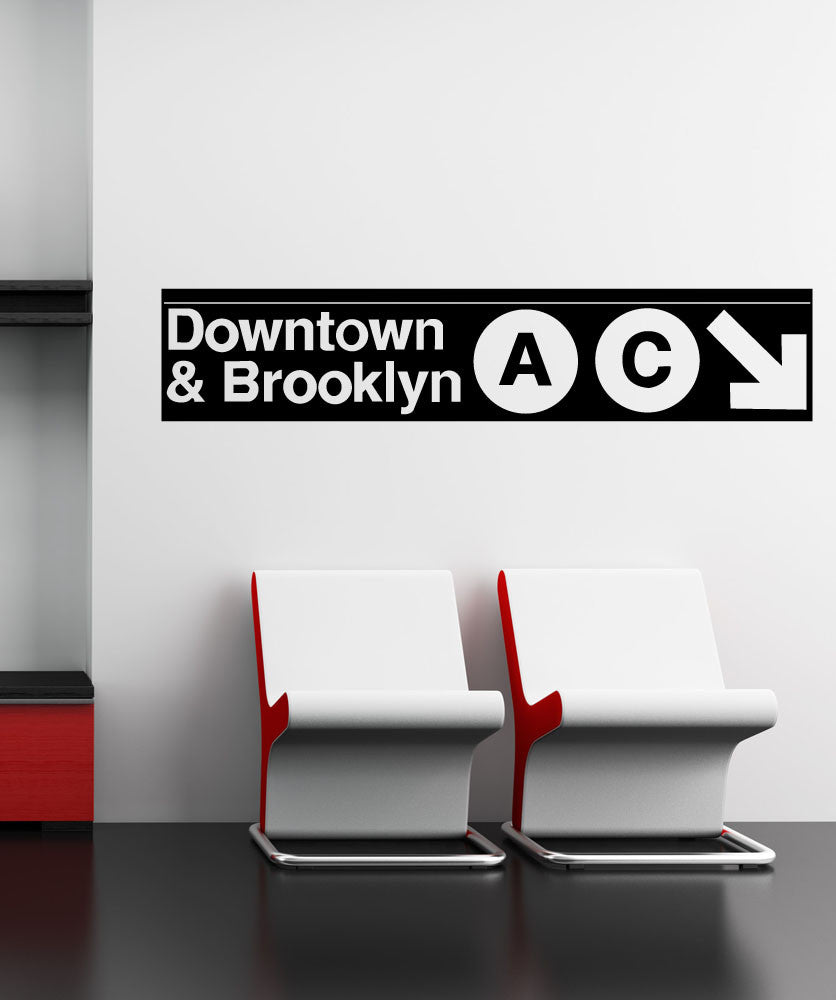 Vinyl Wall Decal Sticker Downtown And Brooklyn Subway Sign