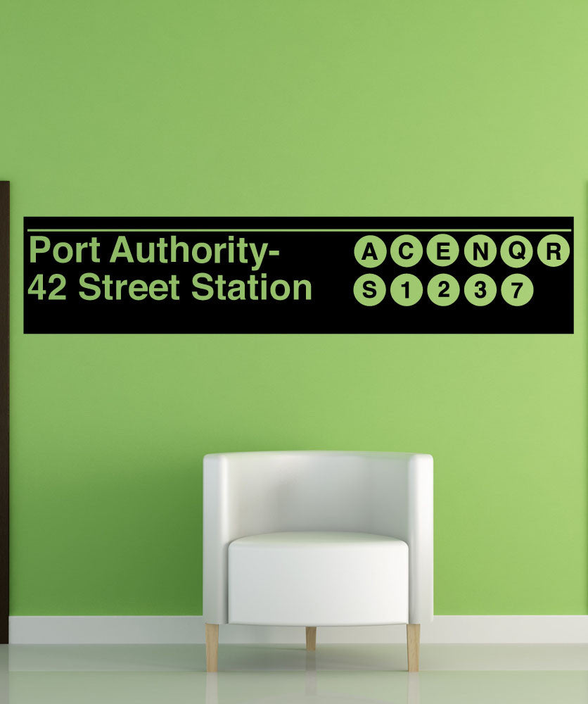 Vinyl Wall Decal Sticker Port Authority Subway Sign #1289