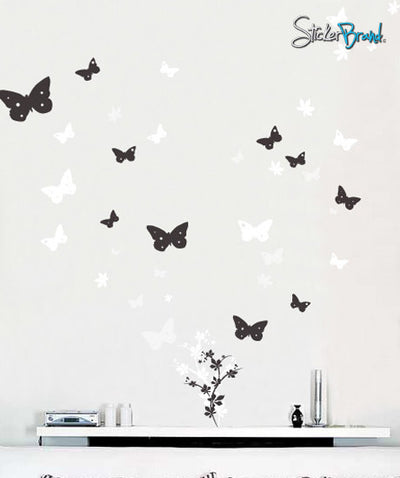 Butterfly Flower Floral Vinyl Wall Art Decal Sticker #128