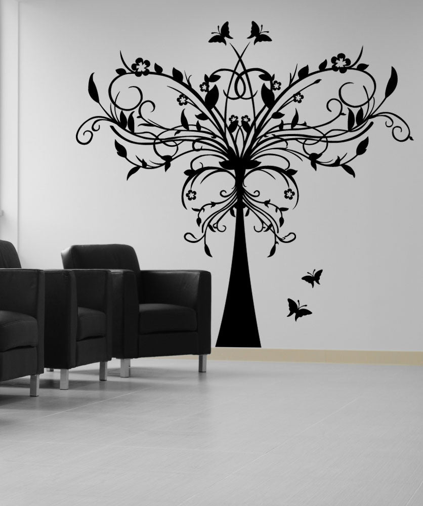 Vinyl Wall Decal Sticker Butterfly Vine Tree #1291