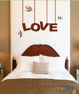 Vinyl Wall Decal Sticker LOVE bird Phrase Lettering #129