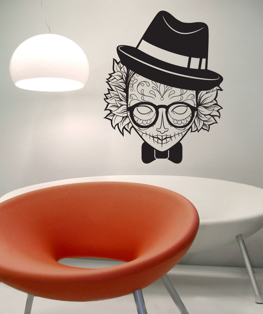 Vinyl Wall Decal Sticker Hipster Sugar Skull #1308