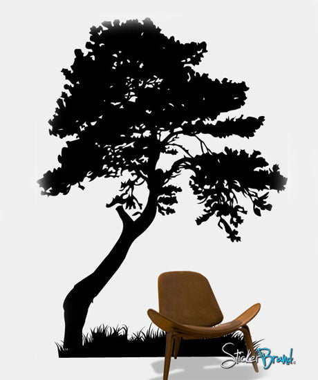 Vinyl Wall Art Decal Sticker Tree with Grass Decorate #130