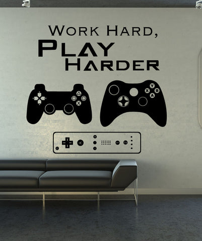Gamer Wall Decal. Work Hard Play Harder Quote. #1323