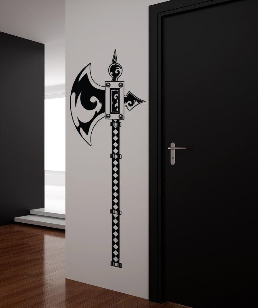 Vinyl Wall Decal Sticker Medieval Battle Axe #1329